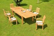 Dsms A-grade Teak 7pc Dining Set 122 Caranas Rectangle Table Stacking Arm Chair