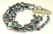 Sterling Silver 4 Strand 8 Peacock Coin Pearl Bracelet With Tubular Slide Clasp