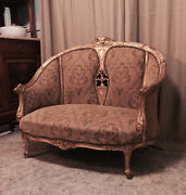Antique French Provincial Louis Xv Rococo Style Ornately Carved Settee Sofa 48