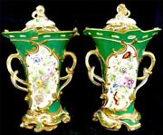 N510 Pair Antique Green Porcelain Pot Pourri Vases And Cover Possibly H And R Daniel
