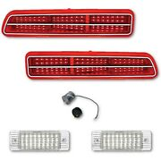69 Chevy Camaro L And R Led Tail Back Up Brake Light Lenses And Trim W/ Flasher Set