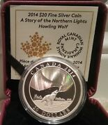 Northern Lights Howling Wolf 20 2014 1oz Pure Silver Proof Coin Canada