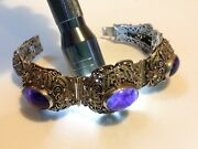 Antique Original Chinese Jewelry China Sterling Silver Bracelet Amethyst M1801