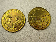 Lot 2 Vintage Coffee People Coin Token Portland Or Rare Advertising Nw 23rd Ave