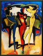 Colors In Motion By Alfred Gockel Framed Fine Art On Canvas Abstract Figure
