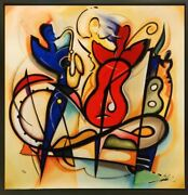 Encore By Alfred Gockel Framed Fine Art On Canvas Abstract Figures Music