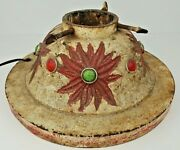 Antique Cast Iron Christmas Tree Stand Holder Poinsettias W/ Colored Lenses