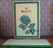 Genuine Rolex Watch Dealer Shop Window Display Stand Green Leather Rose Large