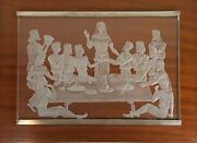 The Holy Dinner. Cut Crystal. Profiles Of Silver. Base Of Wood. J. Martin.1980