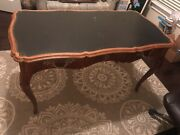 Antique Writing Desk With Leather Top And Exquisite Details