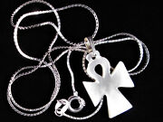 Handmade Mother Of Pearl Ankh Necklace Cross Sterling Silver Bethlehem Palestine