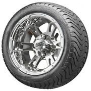 12 Rhox Rx322 Chrome Golf Cart Wheels And Low Profile Tires Combo Set Of 4