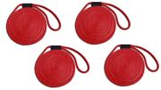 Double Braid Nylon Dock Line 4-pack 3/8 X 15and039 - Uv Coated/non-fading - Red Usa