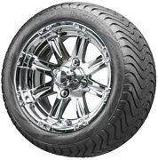 12 Rhox Rx170 Chrome Golf Cart Wheels And Low Profile Tires Combo Set Of 4