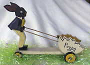 Vintage Easter Chocolate Bunny Wooden Cardboard Cart Peggy