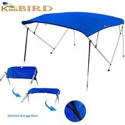 Bimini Top 4 Bow Boat Roof Cover Canopy Blue Sun Shade With Rear Pole 91-96 Us