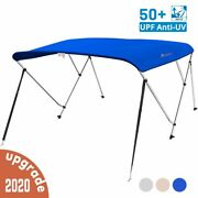 3 Bow Boat Bimini Top Cover Boat Canopy Shade With Support Pole Boot Blue 67-72