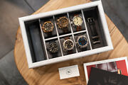 Nandn Watch Cases White Ash Wood Watch Box For 6 Watches And Watch Bands