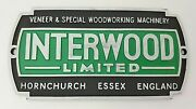 Vintage Interwood Limited Veneer And Special Woodworking Machinery Plaque Tag Sign