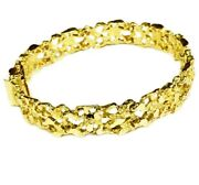 14kt Solid Yellow Gold Handmade Fashion Nugget Bracelet 11 Mm 26 Grams 7.5