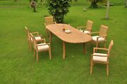 Dsms A-grade Teak 7pc Dining Set 118 Oval Table 6 Stacking Arm Chair Outdoor