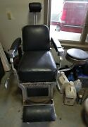 Antique Koken Barber Chair Double Round And Fluted / Strap / Side Chair Included