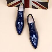New Mens Fashion Patent Leather Wedding Shoes Pointy Toe Dress Formal Shoes