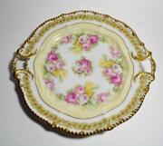 Ant Elite Limoges France Gold Yellow Pink Roses 10 Handled Plate Collector Qual
