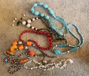 Mixed Lot Costume Jewellery Necklaces Rings And Bracelets In Wood Chest