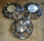 Set Of 3 Classic Vintage Chevrolet Motor Division Hubcaps Oem Wheel Cover 14