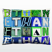 Personalized Pillow Featuring The Name Ethan In Photo Of Blue/green Sign Letters