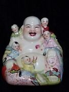 Vintage Chinese Porcelain Laughing Buddha Figure With 5 Children Numbered 76