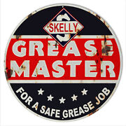 Grease Master Skelly Reproduction Garage Metal Sign 24 Round Rvg707-24