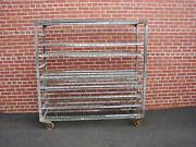 Large Antique Industrial Rolling Cart Shelf Bookcase Display With Shelves