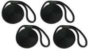 Solid Braid Nylon Dock Line 1/2 X 30and039 4-pack Floats / Fade Proof Usa - Black