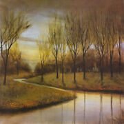 36wx36h Winter Retreat By Albert Williams - River Trees - Choices Of Canvas