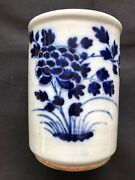 Antique Porcelain Chinese Blue And White Brush Pot, Late 17c