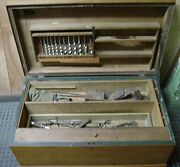 Antique Woodworkerand039s Tool Chest / Carpenterand039s Box - Wood Auger Drill Bits
