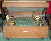 Antique Seiko Balance Scale Weight Set Brass Construction - In Wooded Box