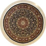 Rugstc 8x8 Senneh Pak Persian Black Rug, Hand-knotted,floral With Silk/wool