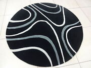 Indian Thick Soft Hand Tufted Round Modern Bespoke Wool Carpet Area Rug Black
