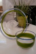 Rare Pair Of Kosta Boda Ulrica Hand Crafted Art Glass Bowls Green And Blue Band