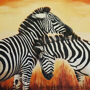 Two Zebras Original Oil Painting On A Canvas