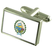 Rosario City Argentina Sterling Silver Flag Cufflinks Engraved Box