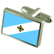 Madison City United States Sterling Silver Flag Cufflinks Engraved Box
