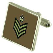 Army Insignia Rank Colour Staff Sergeant Sterling Silver Cufflinks Engraved Box
