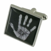 Ghost Haunted Science Hand Print Sterling Silver 925 Cufflinks Engraved Box