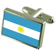 Argentina Sterling Silver Flag Cufflinks In Engraved Personalised Box