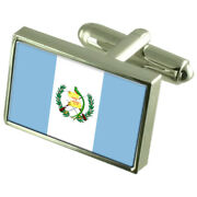 Guatemala Sterling Silver Flag Cufflinks In Engraved Personalised Box