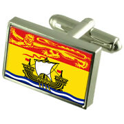 New Brunswick Sterling Silver Flag Cufflinks In Engraved Personalised Box